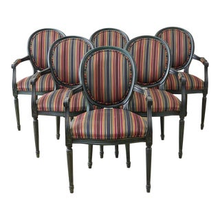 Louis XVI Style Malachite Dining Armchairs - Set of 6 For Sale