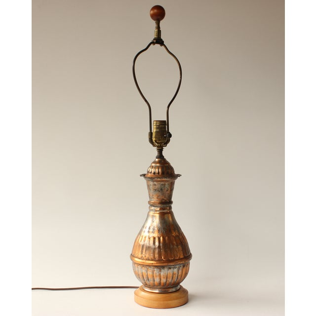 Mediterranean Egyptian Tinned Copper Table Lamp For Sale - Image 3 of 6