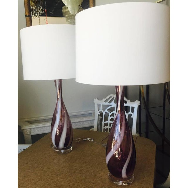 Purple Vintage Murano Glass Italian Table Lamps, 1950s - A Pair For Sale - Image 8 of 11
