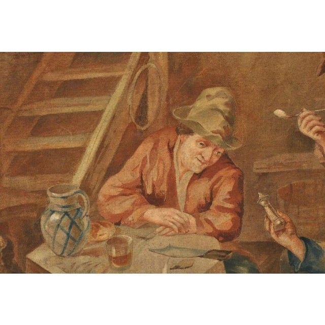 Large 19th Century French Hand-Painted Canvas on Stretcher After David Teniers For Sale In Dallas - Image 6 of 9