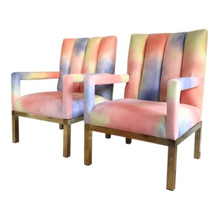 Mid Century Colorful Velvet Upholstered Brass Base Arm Chairs -A Pair For Sale