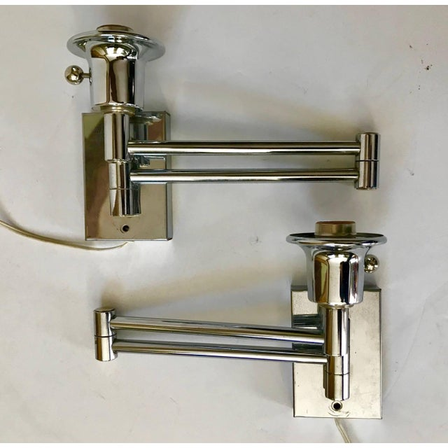 Chrome Swing Arm Sconces - A Pair - Image 4 of 4
