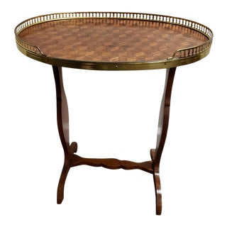 Vintage French Marquetry Side Tea Table With Brass Gallery Rail For Sale