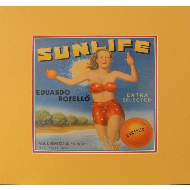 Art Deco 1920's Original Vintage Spanish Fruit Crate Label - Sunlife - Eduardo Rosello - Extra Selected - Valencia Spain For Sale - Image 3 of 3