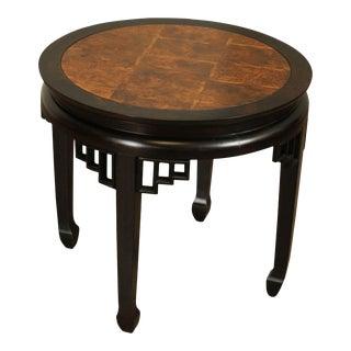 Ethan Allen Asian Style Burlwood Round Side Table For Sale