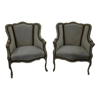 Early 20th Century Anrique French Bergère Chairs - A Pair