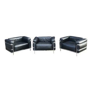 Cassina Lc3 Leather Lounge Chairs Le Corbusier For Sale