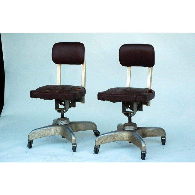 Pair of Aged Industrial Office Swivel Chairs For Sale - Image 4 of 7