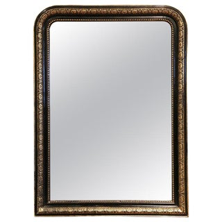 19th Century French Louis Philippe Two-Tone Gilt and Blackened Mirror For Sale