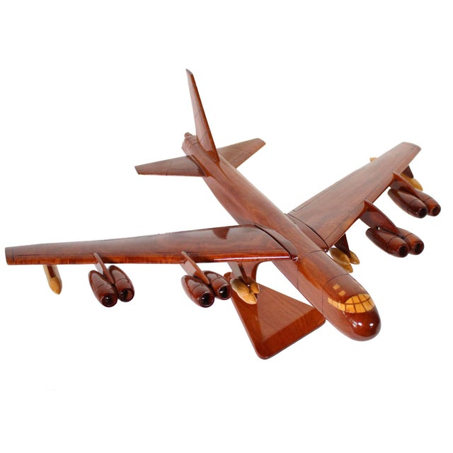 Wood 1970s Mid-Century Hand Carved Wood Replica B-52 Jet Plane For Sale - Image 7 of 8