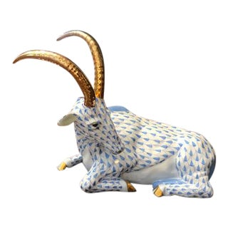 Herend Handpainted and Gilded Antelope Figurine For Sale