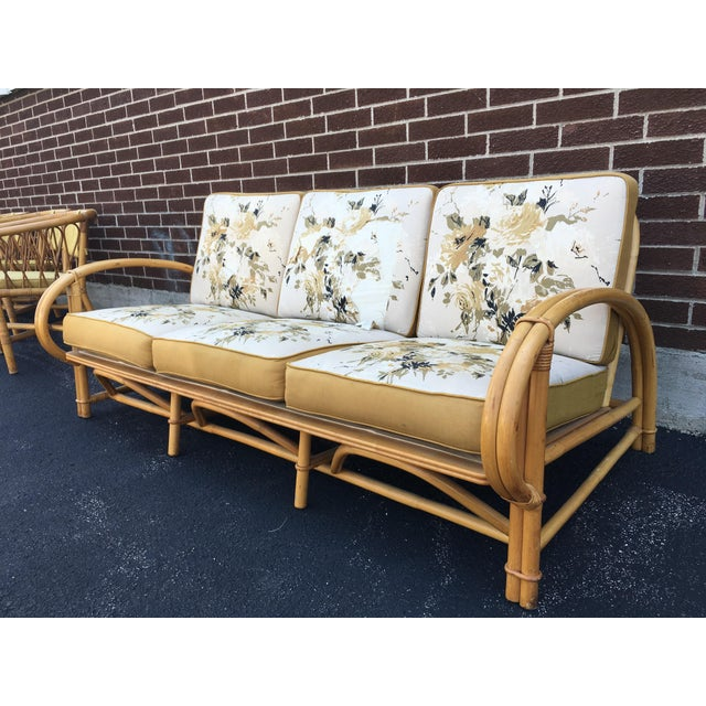 Vintage Ficks Reed Co. Vintage Rattan Sofa - Image 4 of 11