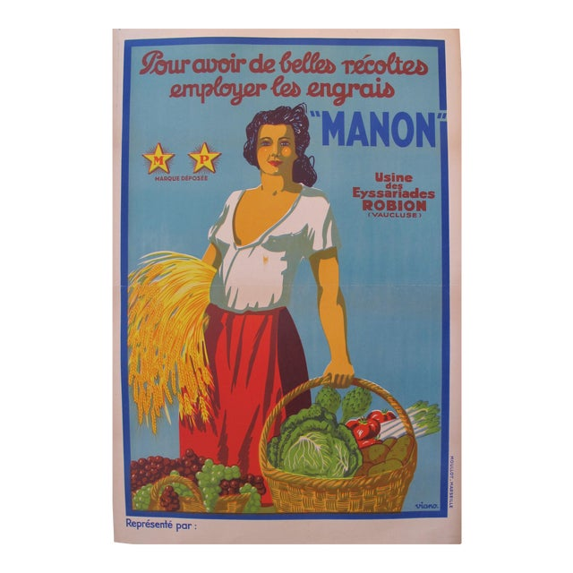 Original Vintage Art Deco French Poster Manon Great For A Kitchen