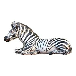 Vintage Italian Glazed Ceramic Zebra
