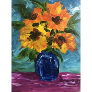 Sunflowers in Blue Vase Painting For Sale