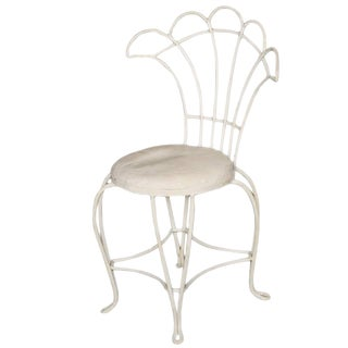 12 French Rod Iron Fan Back Outdoor/Patio Chairs For Sale