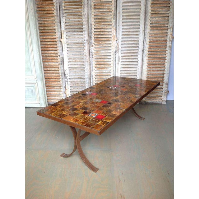 French 1960s Dining Table With Ceramic Tiled Top - Image 3 of 11