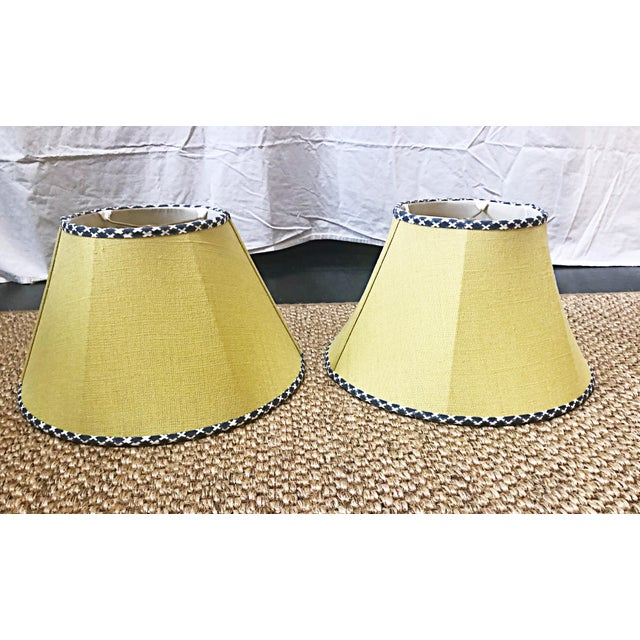 American Dogwood and House of Harris Yellow Serenbe Showhouse Lampshades - a Pair For Sale - Image 3 of 3