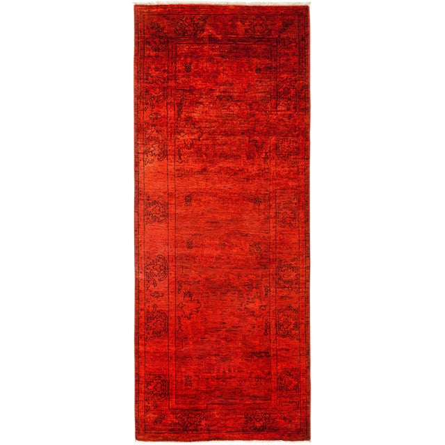 "Red Over-Dyed Hand Knotted Runner -- 3' X 7'10"" - Image 1 of 3"