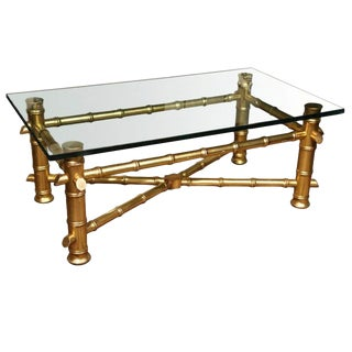 1970s Vintage Gilt Faux Bamboo Coffee Table For Sale