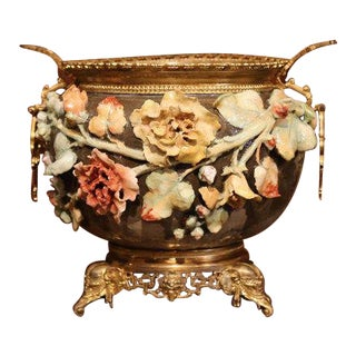 19th Century French Hand-Painted Barbotine Flower Cache Pot With Bronze Mounts For Sale