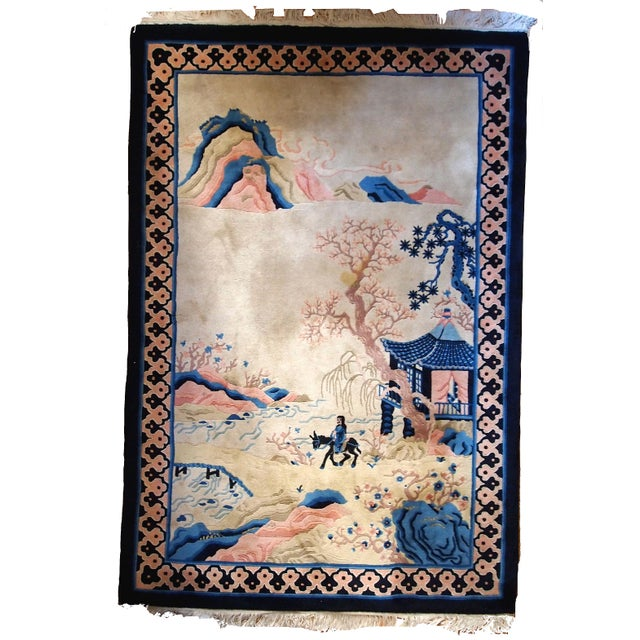 Vintage hand made Art Deco Chinese rug in beige and blue shades. Pictorial design as usually represents some story tale of...