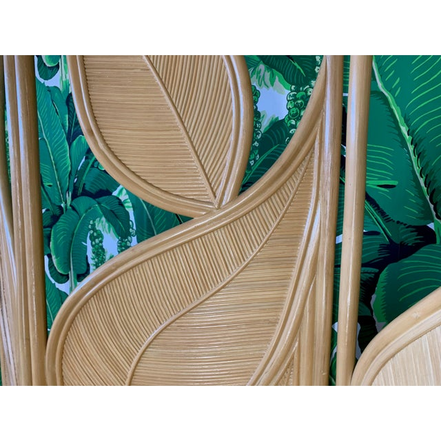 Tropical Rattan Room Divider Folding Screen For Sale - Image 4 of 12