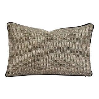 "F. Schumacher Mamet in Coal With Black Cording Lumbar Pillow Cover - 13"" X 20"" For Sale"