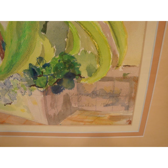 Vibrant watercolor painting of a verdant landscape with sub-tropical foliage and flowers by Georgine Rake Goodman...