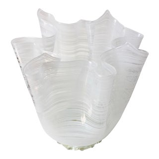 Vintage Murano Glass 'Fazzoletto' Vase For Sale