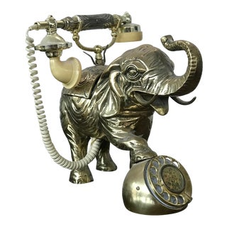 Vintage Brass Elephant Rotary Dial Telephone For Sale