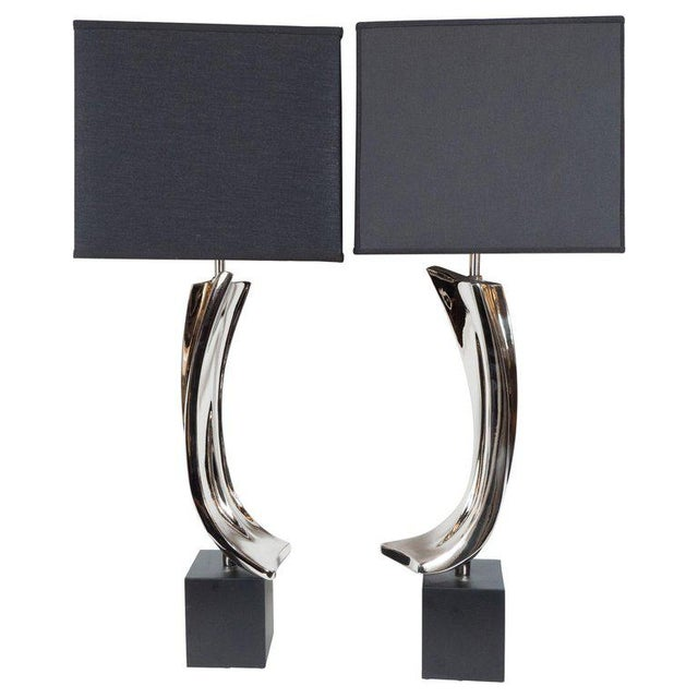 Silver Mid-Century Maurizio Tempestini Brutalist Table Lamps for Laurel Lamp Co. - a Pair For Sale - Image 8 of 8
