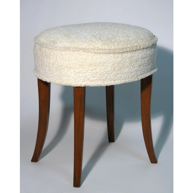 Vintage walnut vanity stool. Seat covered with turkish cotton towel upholstery. American 1940's.