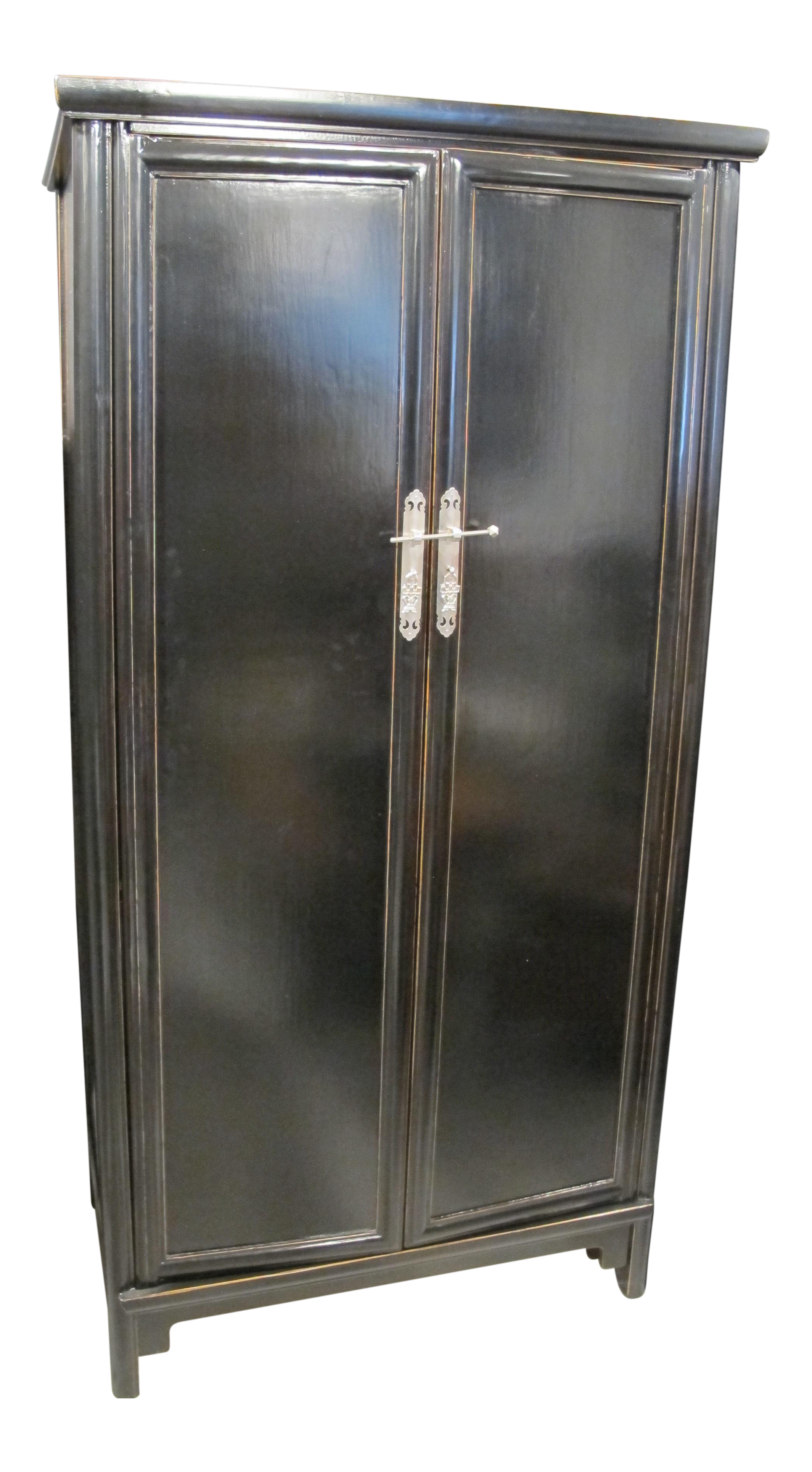 Charmant Black Lacquer Chinese Armoire