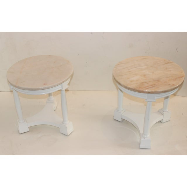 Hollywood Regency Side Tables in White Lacquer With Pink Marble: Tops 1940's - a Pair Note that one of the tops is darker...