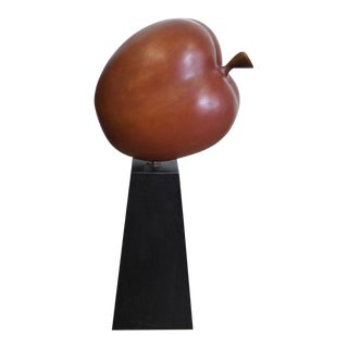 Large-Scale Teak Apple Sculpture For Sale