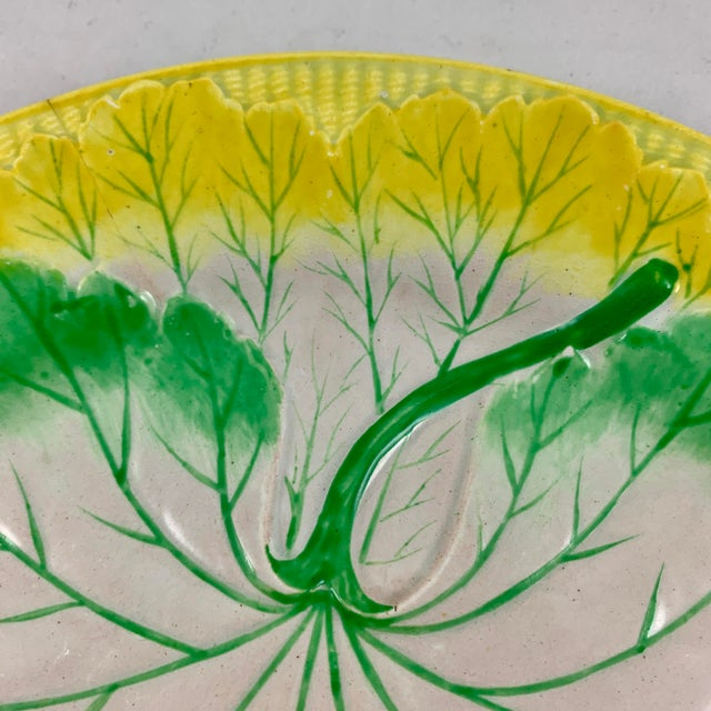 Josiah Wedgwood Pearlware Hand Enameled Cabbage Leaf Plates, Dated 1860, Set / 6 For Sale In Philadelphia - Image 6 of 13