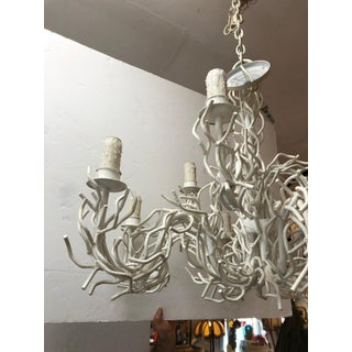 1950s Contemporary White Iron Faux Coral Two-Tier Chandelier Preview