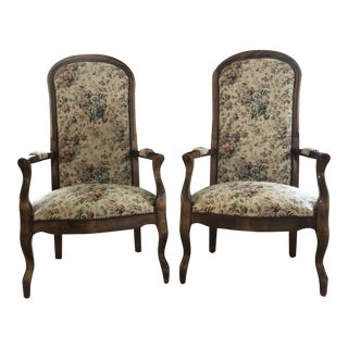 Mid Century Transitional High Back Armchairs- a Pair For Sale