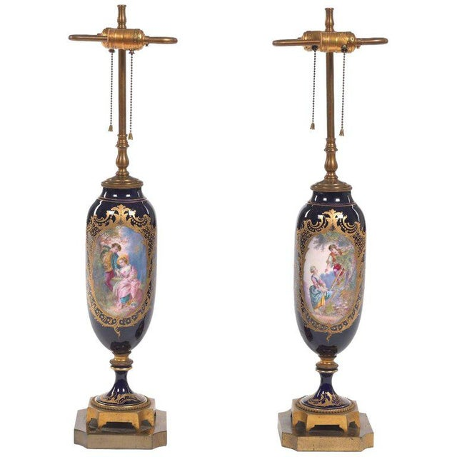 Ceramic Pair of Sèvres Style Ormolu-Mounted Urns, Now as Lamps For Sale - Image 7 of 7