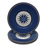 Image of Set of (4) Porcelain Dessert Blue and White Dessert Plates For Sale