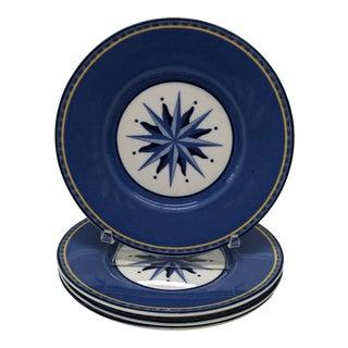 Set of (4) Porcelain Dessert Blue and White Dessert Plates For Sale