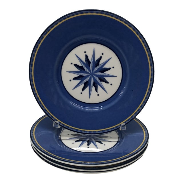 Set of (4) Porcelain Dessert Blue and White Dessert Plates For Sale
