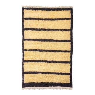 Vintage Handwoven Turkish Tulu Shaggy Wool Floor Rug, Minimalist Handmade Beige and Brown Black Striped Shag Tribal Area Floor Rug, 5' X 8' For Sale