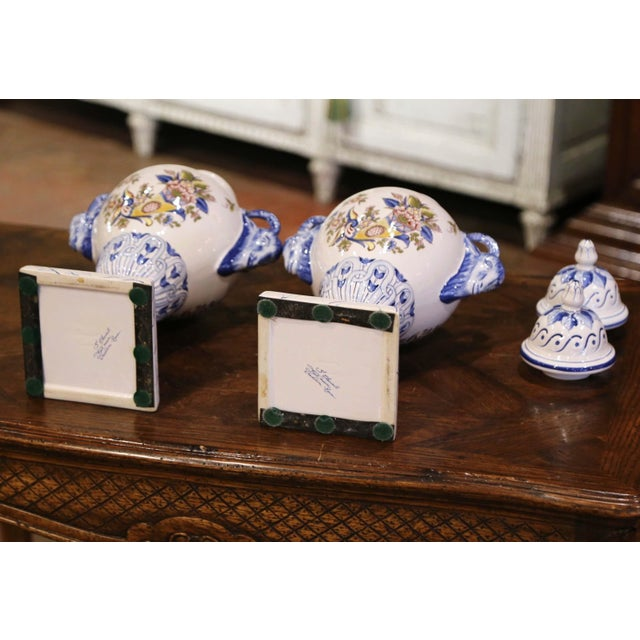 """Pair of Mid-Century French Hand Painted Faience """"Saint Clement"""" Urns With Lids For Sale - Image 12 of 13"""