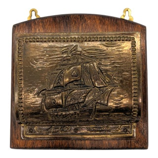 20th Century English Nautical Ship Embossed Brass and Wood Letter Holder Wall Pocket For Sale