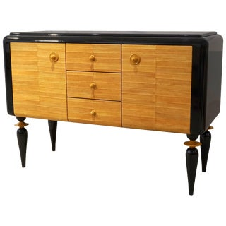 Italian Contemporary Art Deco Design Black Lacquered Yellow Leather Sideboard For Sale