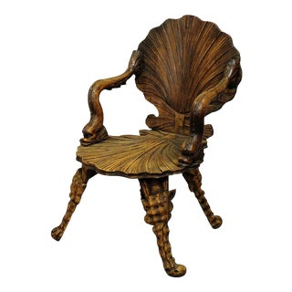 Antique Wooden Carved Grotto Armchair Ca. 1880 For Sale