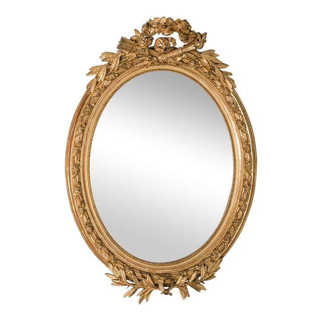 Antique French Louis XVI Style Oval Mirror circa 1890 - Image 1 of 8