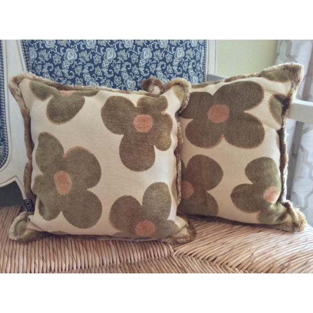 1980s Vintage Borgata Crazy Flower Pillows - a Pair For Sale - Image 11 of 11